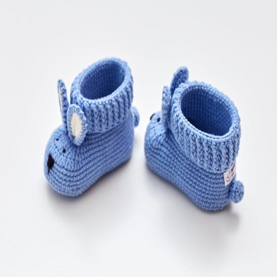Christening outfit baby boy girl baptism gift idea. Pregnancy congrats new baby reveal present idea with crochet bunny booties. Blue nursery