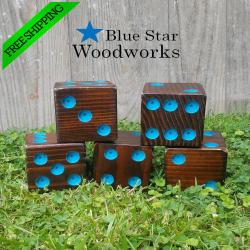 The Natural Stained and Painted Dots Yardzee, Giant Dice Game, Lawn Dice, Backyard Game