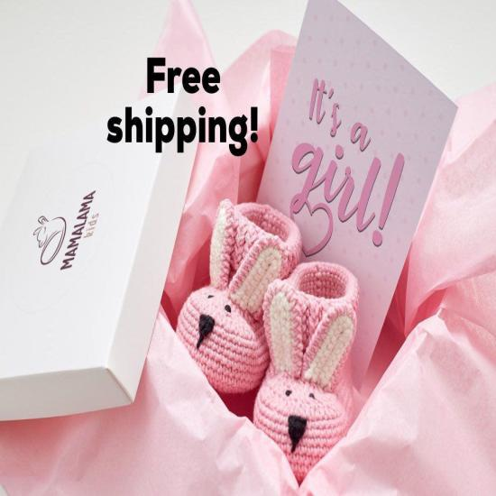 Best pregnancy gifts for expecting mom crochet bunny booties pink girl newborn present set Nursery rustic decor gift baby girl gender reveal