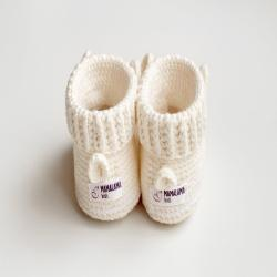 Twins baptism baby booties gift box Crochet llama animal shoes newborn basket Pregnancy christening shower idea Lovely organic cotton outfit