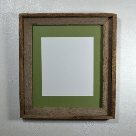 8.5x11  Picture frame sage green mat 8x10, 8x12 or 9x12 mat options reclaimed wood