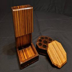 Wooden Dice Tower, Black Walnut and Zebrawood