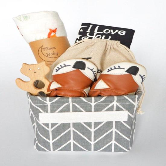 Organic Baby Gift Basket - Fox - moccasins, teether, blanket, bodysuit, I love you to the moon and back