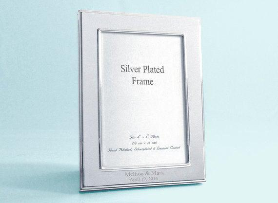 8 x 10 Photo Frame Oxford Silver Plated Frame - Personalized Frame - Engraved Picture Frame - Anniversary Picture Frame - Wedding Frame