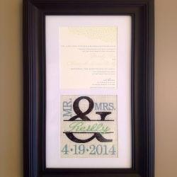 Custom Monogrammed Framed Wedding Invitation Keepsake