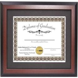 Maany Diploma Frame Displays 8.5x11-inch with Mat or 11x14-inch Certificate - Certificate Frame, Document Frame, Degree Frame