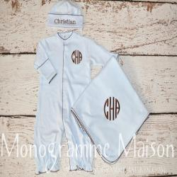 Coming Home Outfit - Baby Boy Outfit - Monogrammed Baby Outfit - Baby Shower Gift - Newborn Pictures Outfit - Converter Gown - Pima Cotton