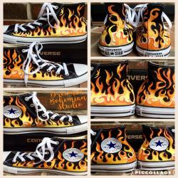 Custom Sneakers Infant Size Hand Painted Flame Converse High Tops for Baby, Firetruck First Birthday Ideas, Fireman Gift for Boy, Sizes 2-10