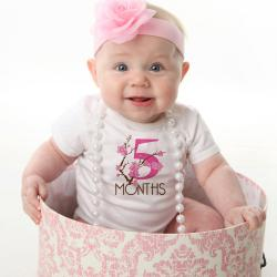 Cherry Blossom Monthly Baby Bodysuits, 12 Month Set, Perfect Baby Shower Gift