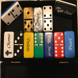 Personalized DOMINOES laser engraved Double 6  light blue tournament size white dots with spinners