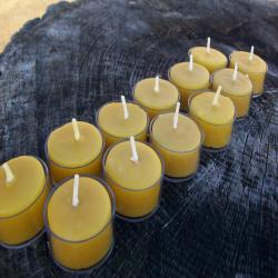 Beeswax Candles -Set of 100 Natural Beeswax Tea Lights in clear plastic cups