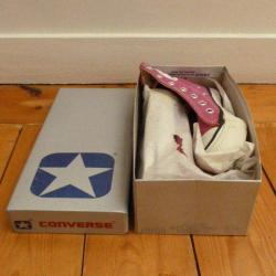Converse 1980s vintage, RASPBERRY hi-top, size US1.5, NOS, deadstock in box