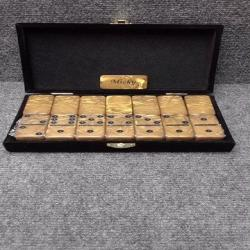 Personalized DOMINOES laser engraved Gold  tournament size black dots without spinners