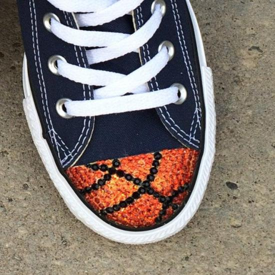Basketball Bling Converse Shoes. Customized Converse Shoes. Basketball Shoes for Basketball Players, Basketball Fans. Basketball Player Gift