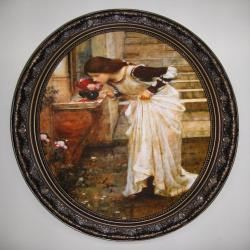 JOHN WILLIAM WATERHOUSE Art print on canvas in oval frame