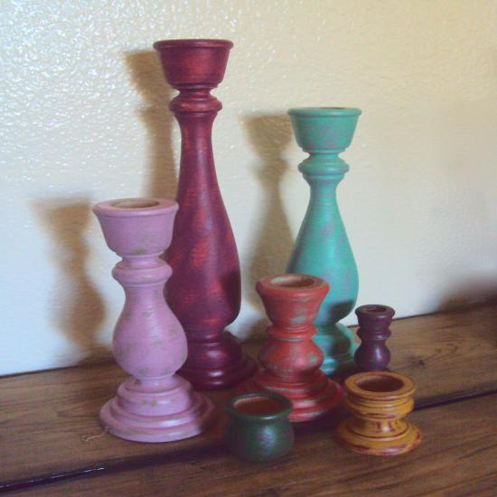 Distressed Wood Candlestick Set - Colorful Boho Decor - 7 Piece Bohemian Decor - Wooden Boho Hippie Candle Holders - Gypsy Table Centerpiece