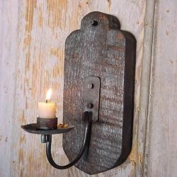 Rustic Candle Sconce, Wall Candle Holder, Blacksmith Handmade Forged Sconce, Iron Candle Holder Sconce, Blackened, Primitive Lighting
