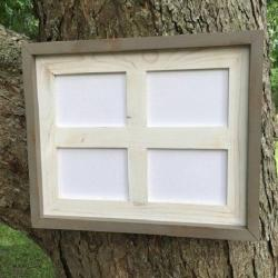 Multi Opening Collage Picture Frame For Four 4 x 6 Photos Or Prints, Rustic Weathered White with Gray Outer Trim, Rustic Home Decor