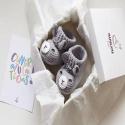 New mommy gift set Cute blue Pregnancy booties Crochet llama animal baby shoe slippers New mom gift basket Pregnancy package Postpartum gift