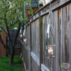 Hanging Lantern Set of Four Made From Clear Glass Wine Bottles Hold Tea Candles or Votive Candles Outdoor Garden Porch Decor