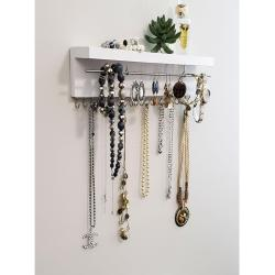 Rustic Jewelry Organizer Holder with Hooks - Wall Mounted Wood, Necklace Holder, Necklace Display, Bracelets Earrings Holder, Key Holder