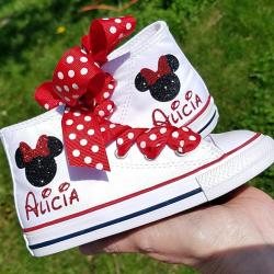 Minnie Mouse Shoes, White High Tops, Converse Sneakers, Personalized Name, Glitter Mouse, Toddler Girls