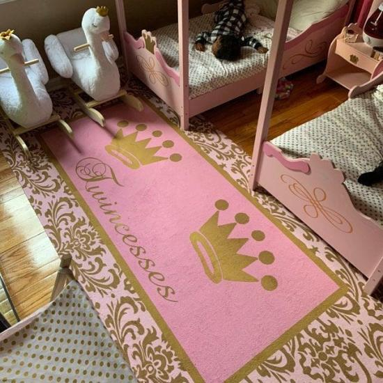 Damask, Nursery, Princess Rug with crown, Personalized Rug, Customized Rug, Personalized Rug, Carpet -Floor Mat, Many Colors Available