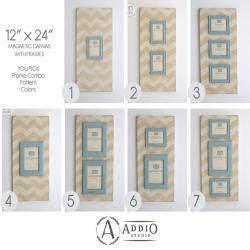 Magnetic Photo Frame Collage on Canvas. Distressed Painted Wood Picture Frames. Painted Frame Grouping. 12x24 You pick patterns and colors.