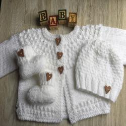 Hand Knitted Baby Sweater - 3 Piece Set - knitted Baby Sweater- Knitted Baby Booties - Knitted Baby hat -White Knitted Baby Sweater Set