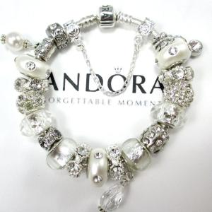 Authentic Pandora Bracelet,.925 Silver, or CHOOSE, Euro Bracelet, Silver Plated, Not Pandora, Both with, Non Branded Beads & Charms, WS3D