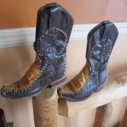 vintage childrens cowboy boots gator most unusual all leather with leather sole