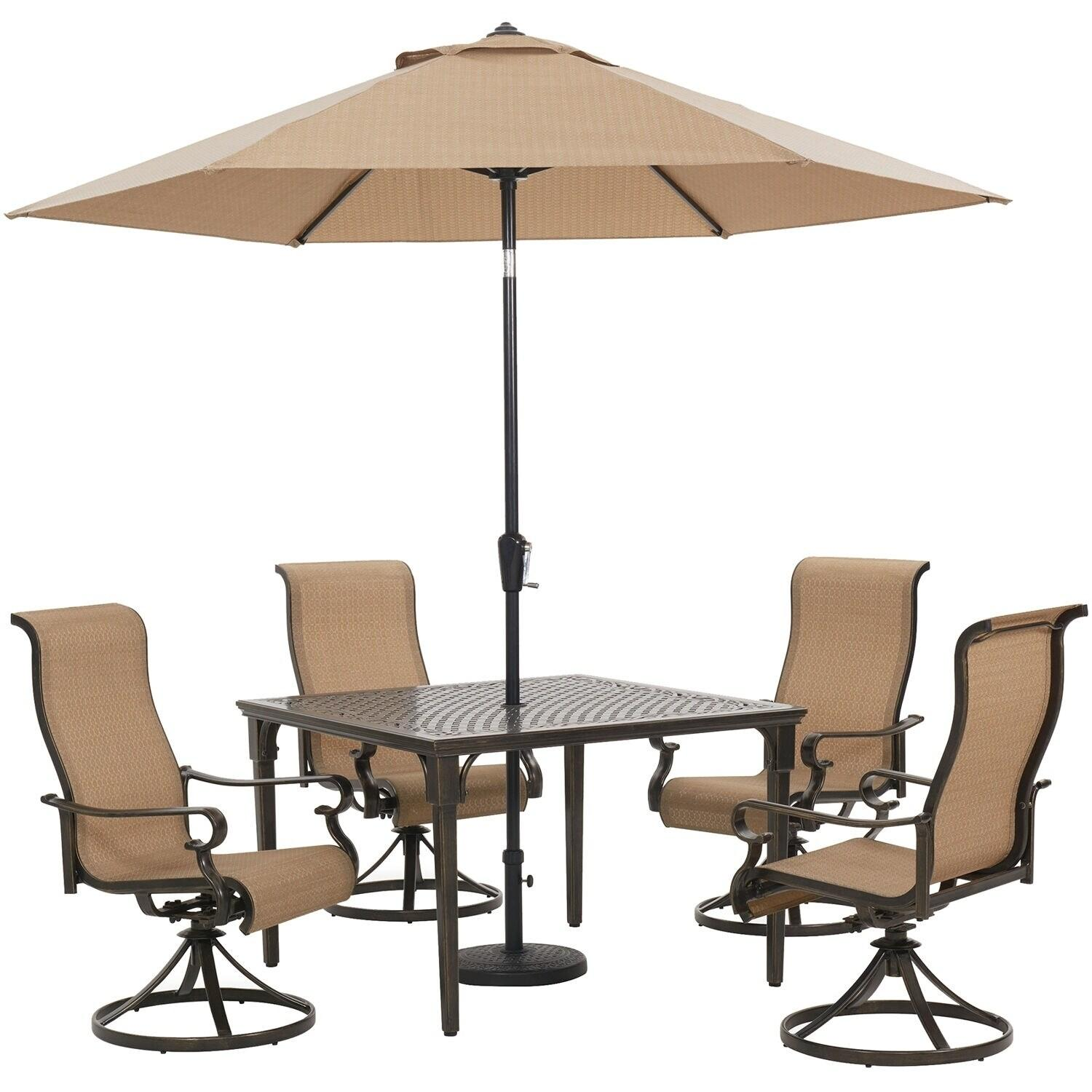 Hanover Brigantine 5-Piece Outdoor Dining Set with 4 Sling Swivel Rockers, 42-In. Square Table, 9-Ft. Umbrella, and Base