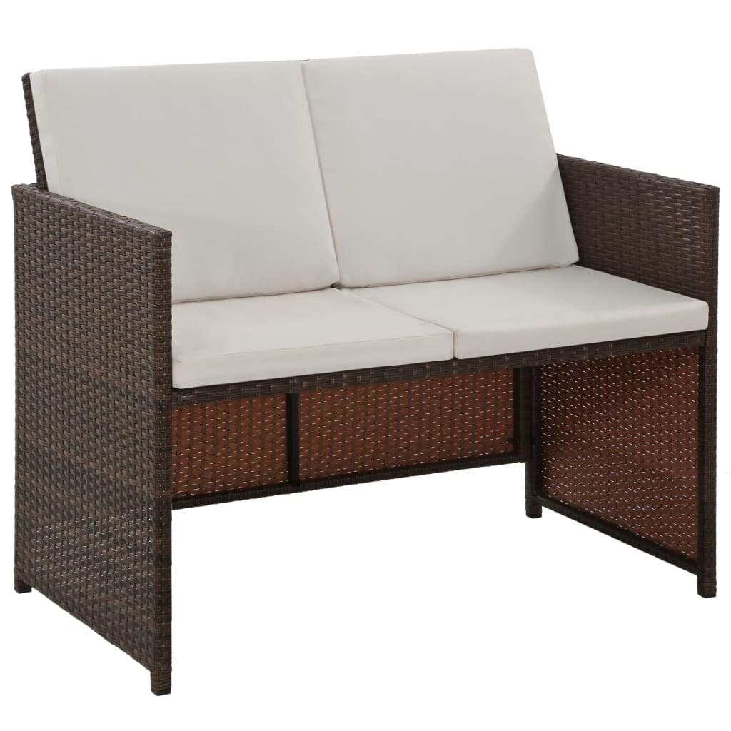 vidaXL 6 Piece Outdoor Dining Set with Cushions Poly Rattan Brown Chair Table