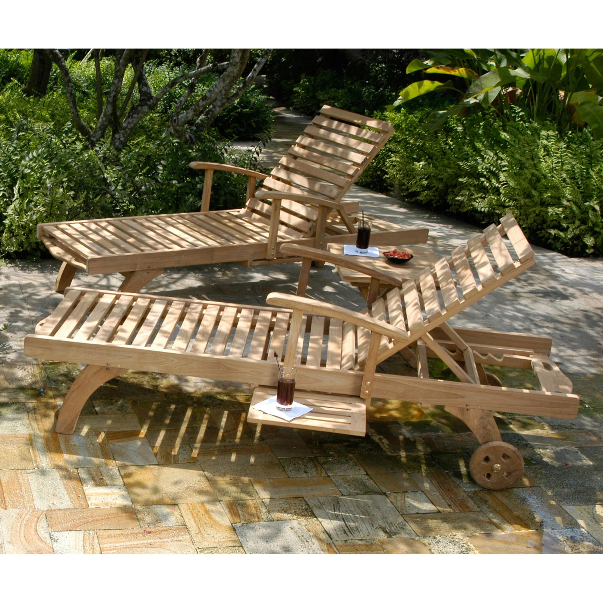 Chic Teak Bahama Teak Wood Pool and Patio Lounger with Pull Out Side Table