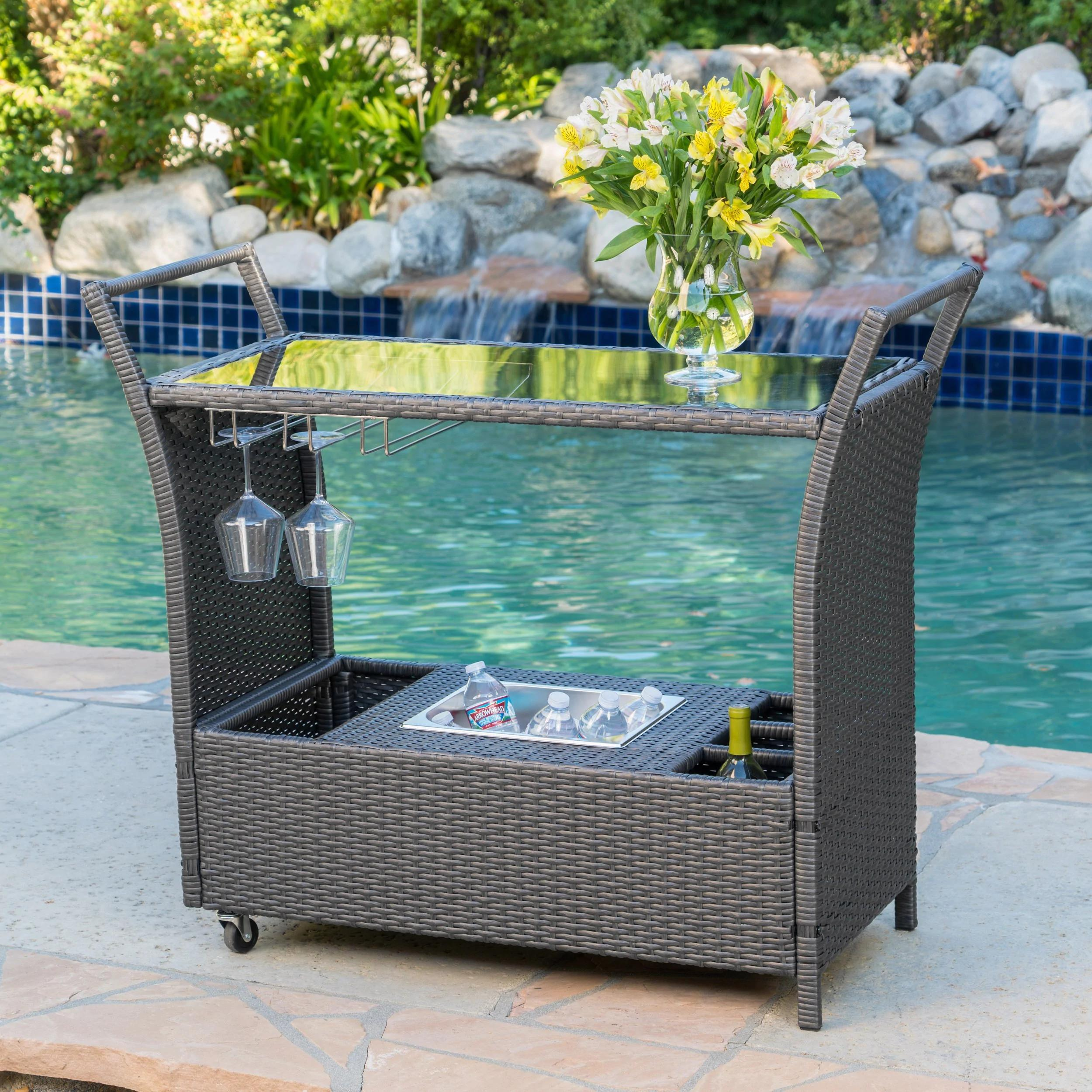 Bahama Outdoor Wicker Bar Cart with Tempered Glass Top by Christopher Knight Home - Grey