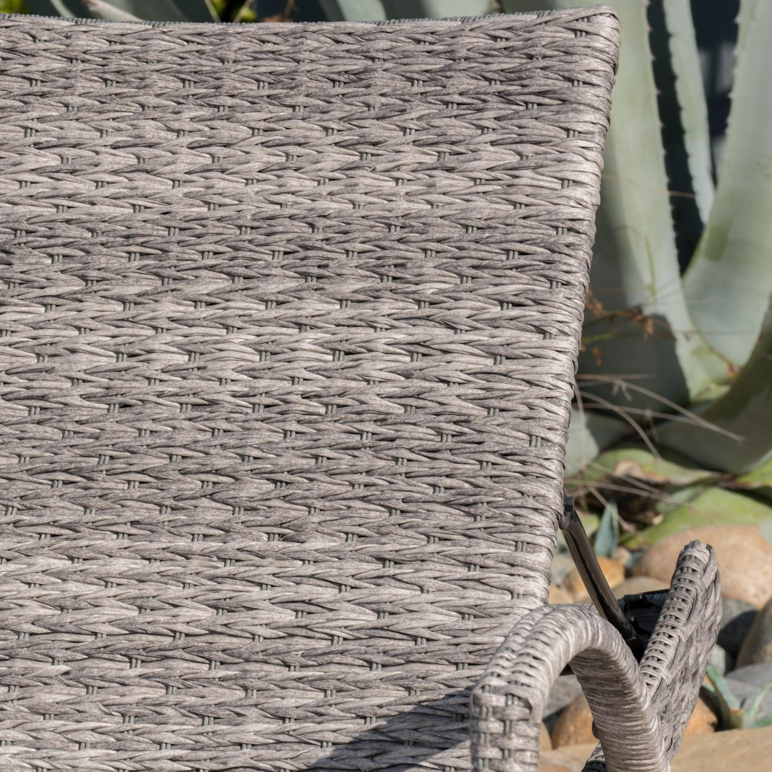 Crete Outdoor Armed Aluminum Wicker Chaise Lounge (Set of 2) by Christopher Knight Home