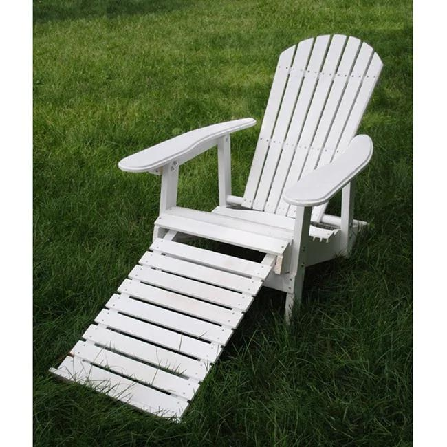 Handmade White Folding Adirondack Pull-out Footrest Chair - 36