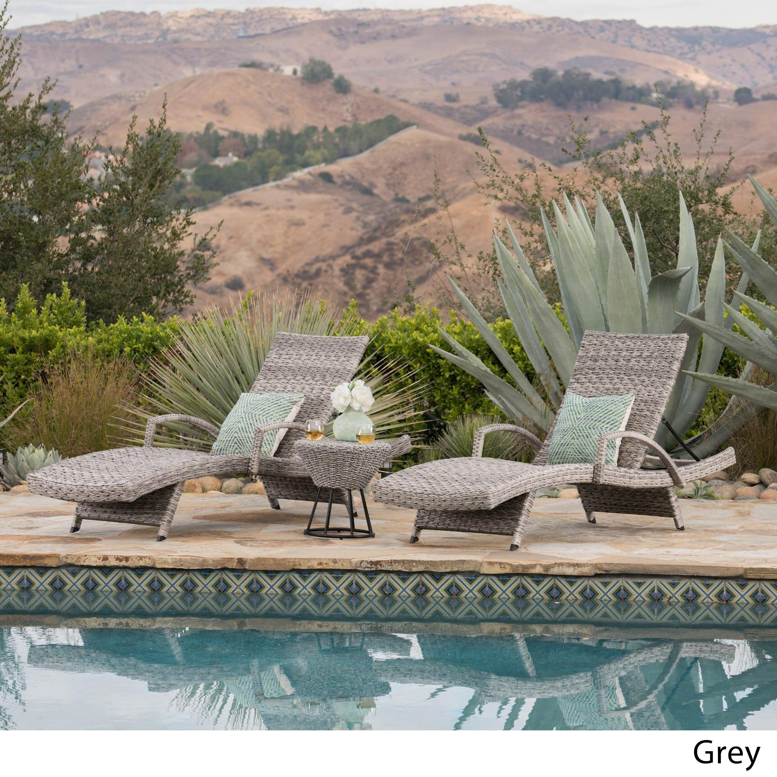 Crete Outdoor 3-piece Armed Aluminum Wicker Chaise Lounge Set by Christopher Knight Home