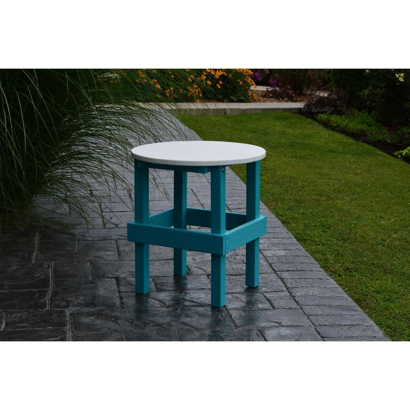 Outdoor Round Side Table w/ White Top - Recycled Plastic