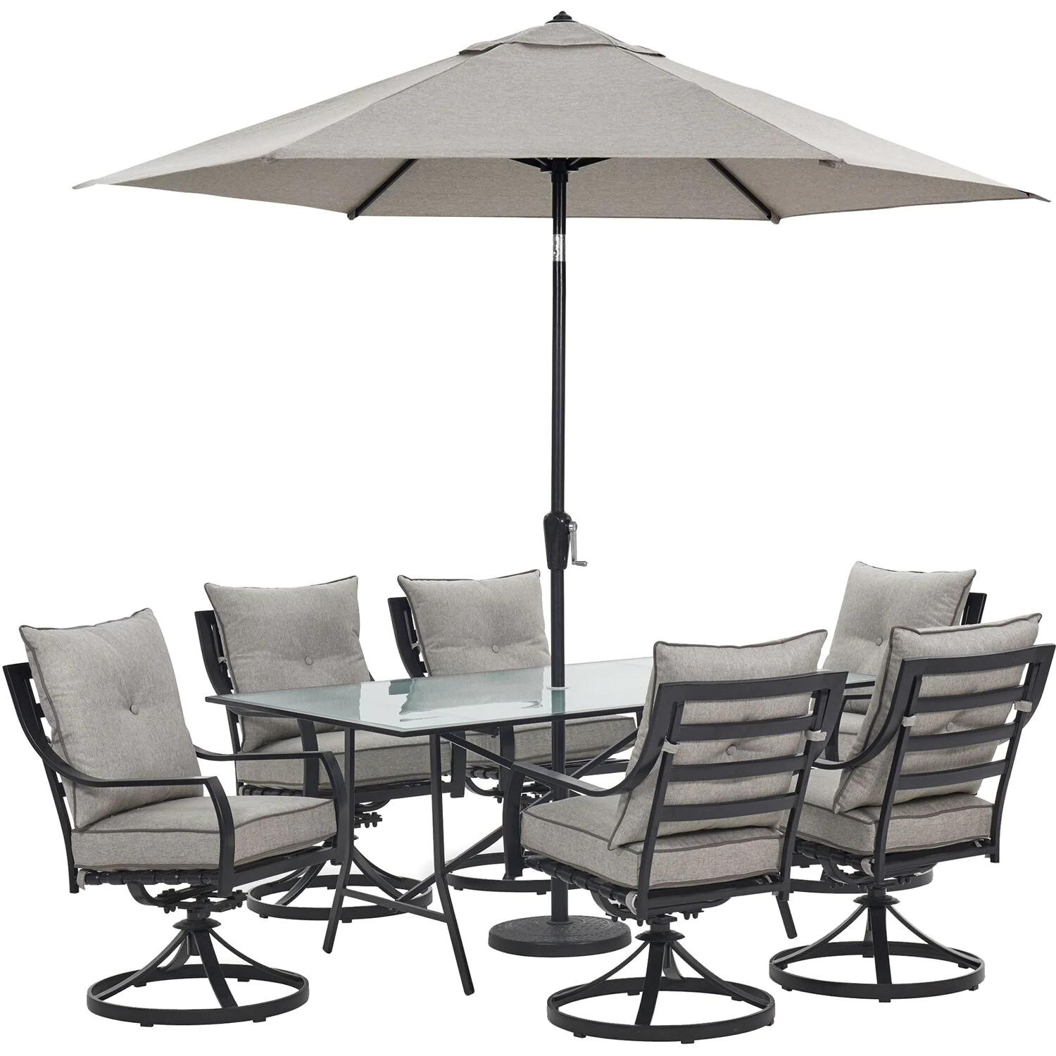 Hanover Lavallette 7-Piece Dining Set in Silver Linings with 6 Swivel Rockers, 66