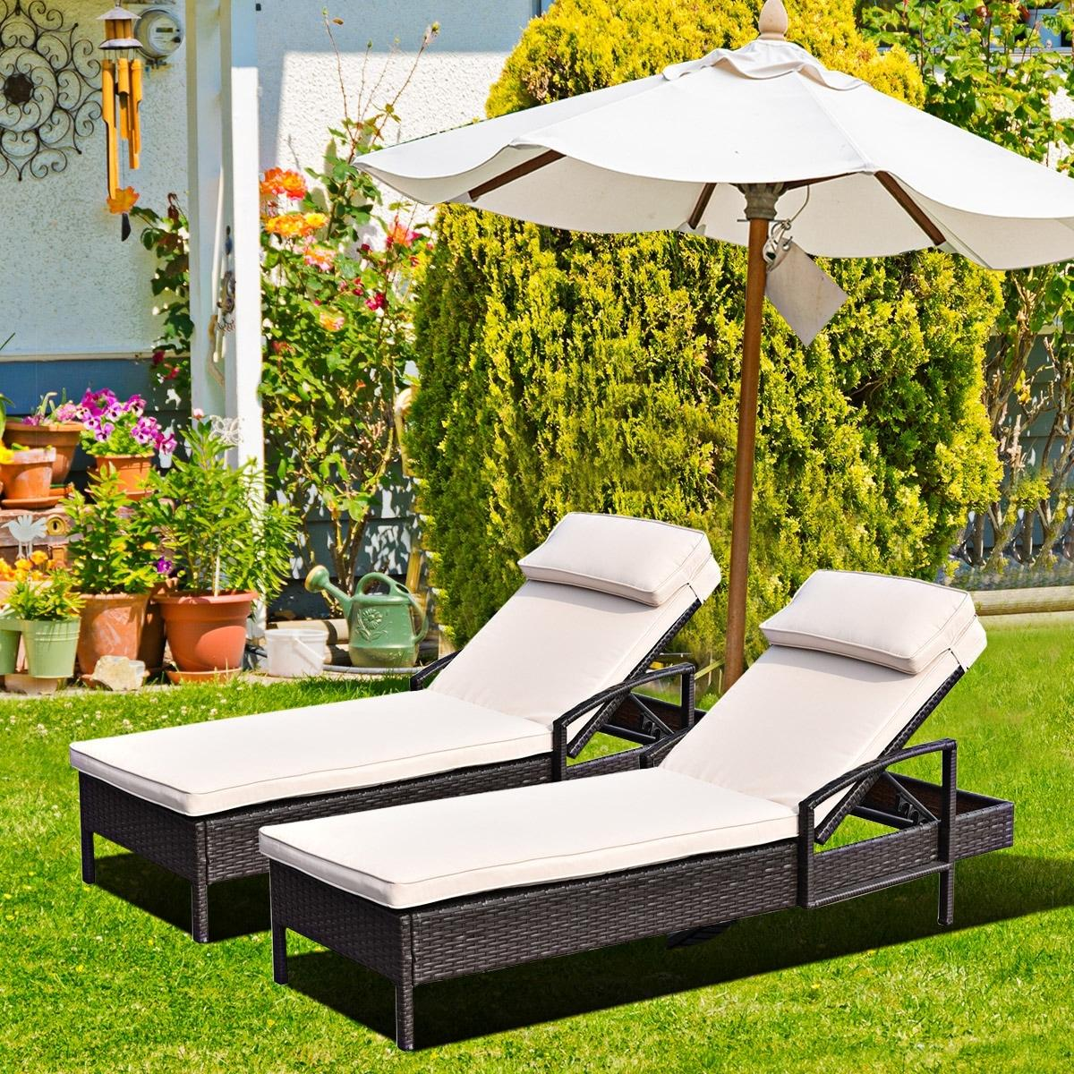 2 PCS Chaise Lounge Chair Brown Outdoor Rattan Couch Patio Furniture W/Pillow
