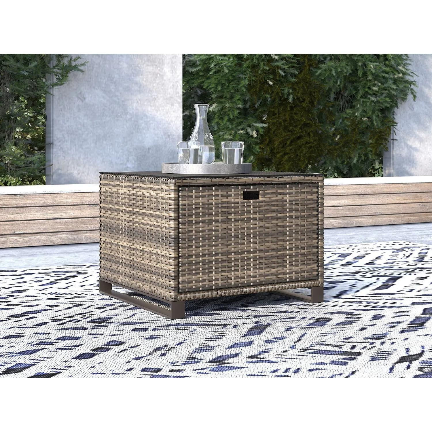 Tommy Hilfiger Oceanside Outdoor Side Table with Storage, Gray Wicker
