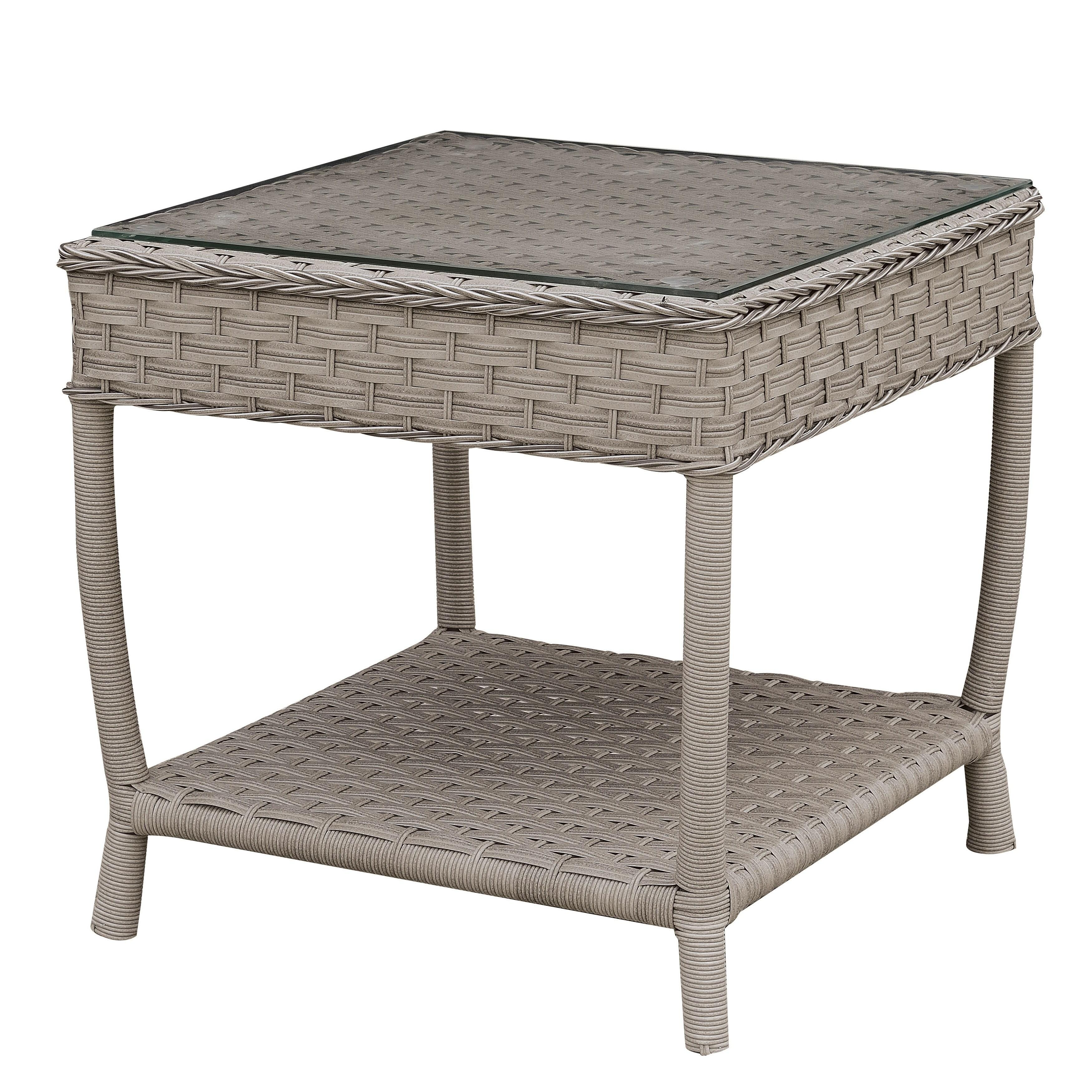 Furniture of America Dyla Contemporary Grey Glass Top Patio End Table