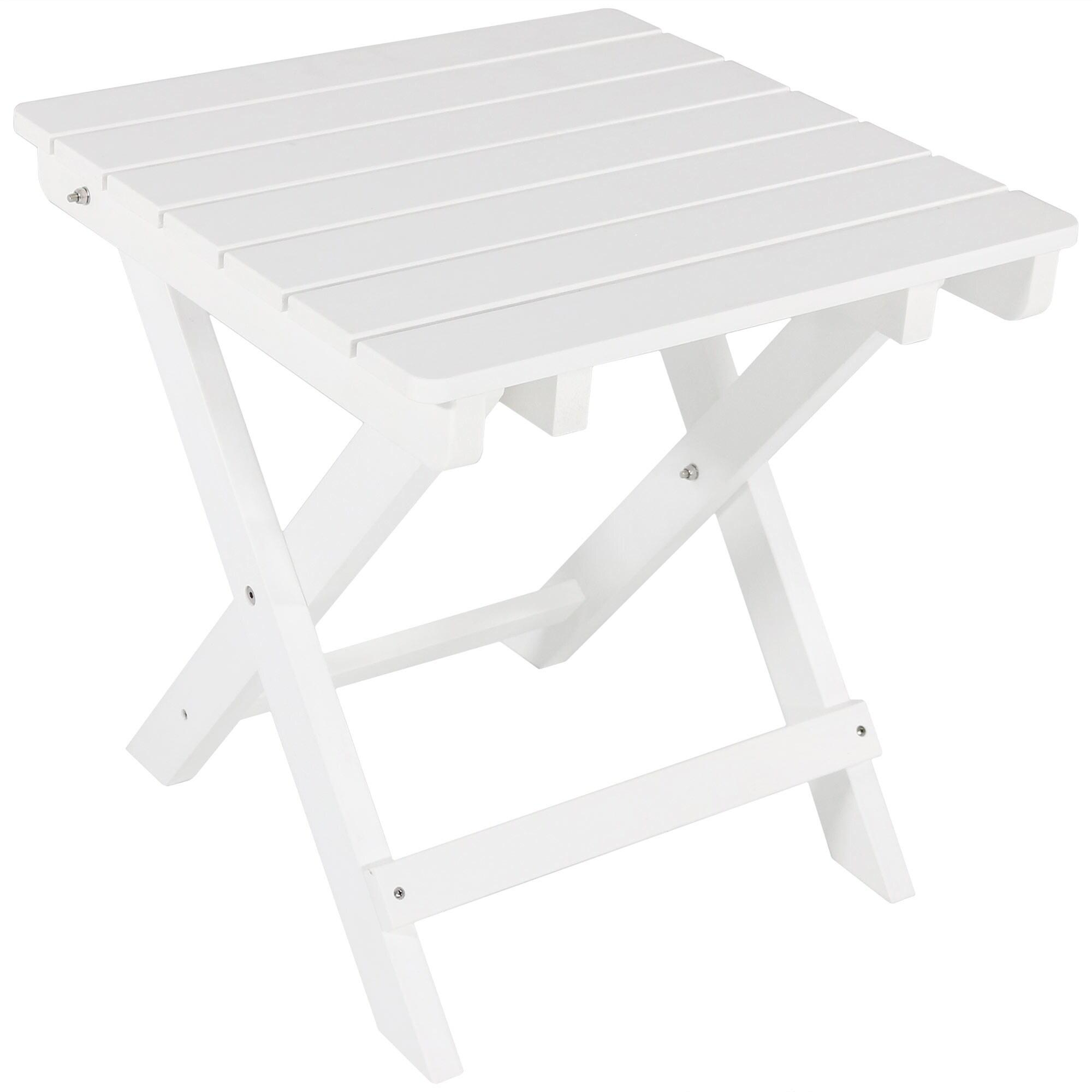 Sunnydaze All-Weather Outdoor Folding Portable Side Table- Wood Design-White