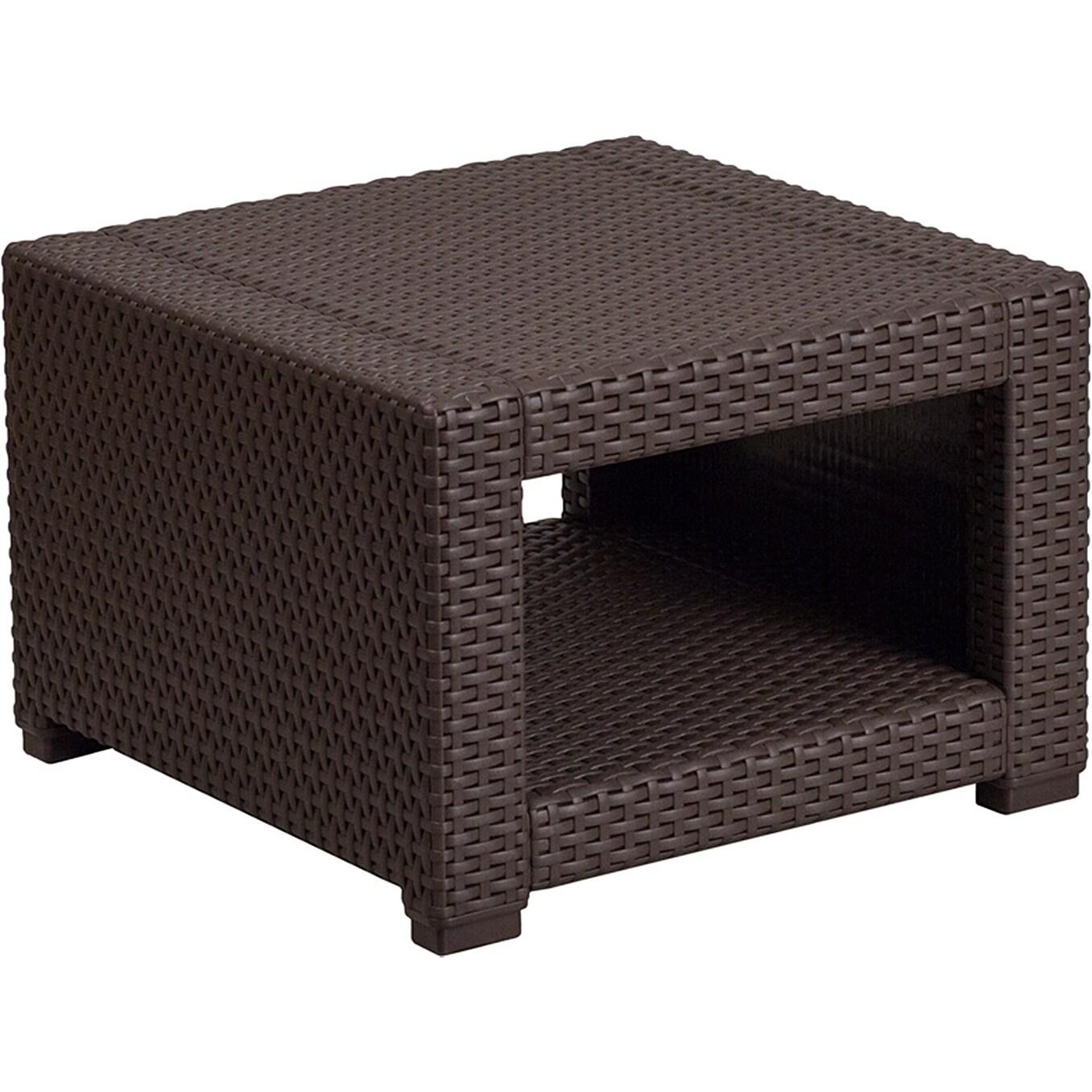 Winston Chocolate Brown All-weather Garden Patio Side Table