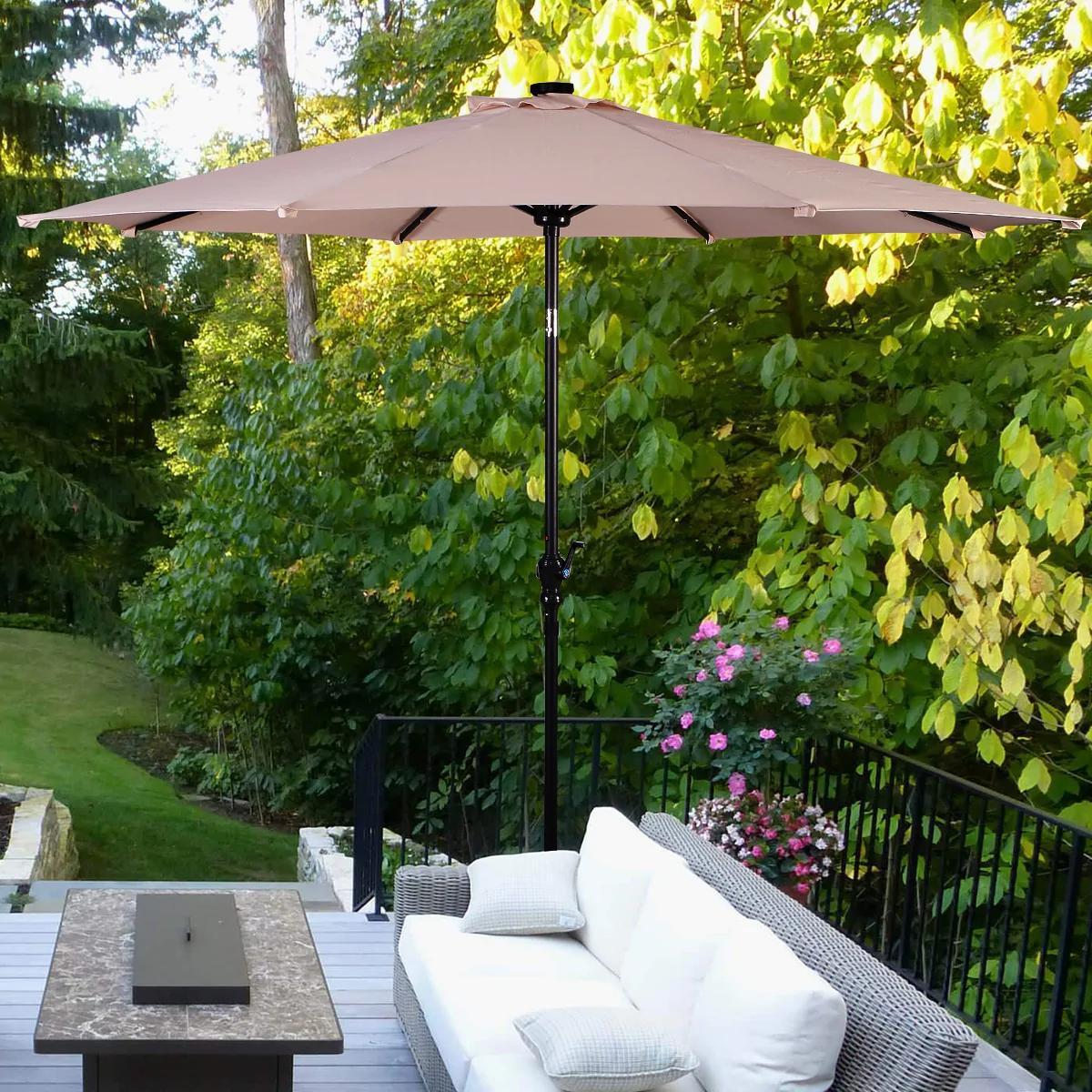 10 ft Patio Market Umbrella Outdoor with Solar Powered LED Light