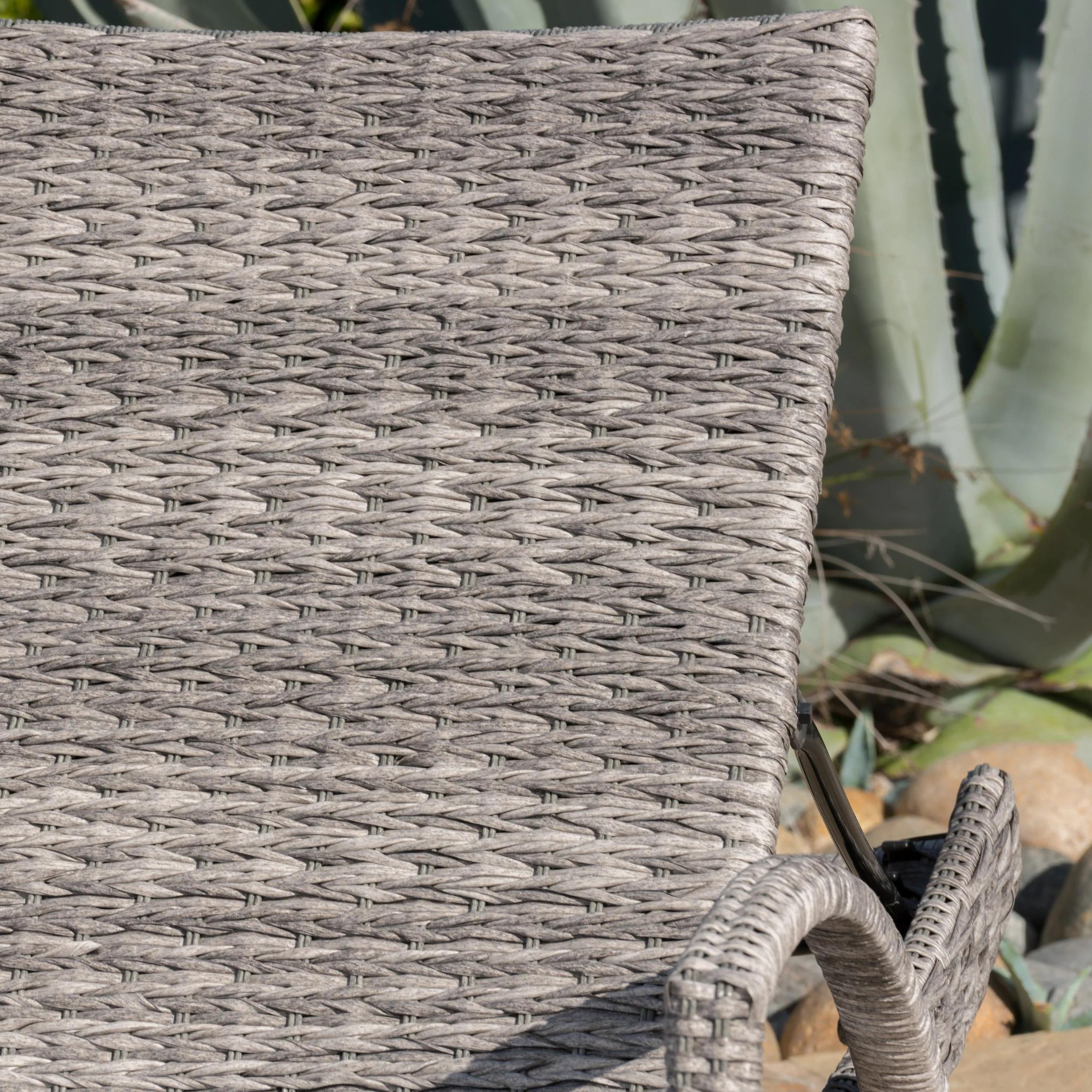 Crete Outdoor Armed Aluminum Wicker Chaise Lounge by Christopher Knight Home