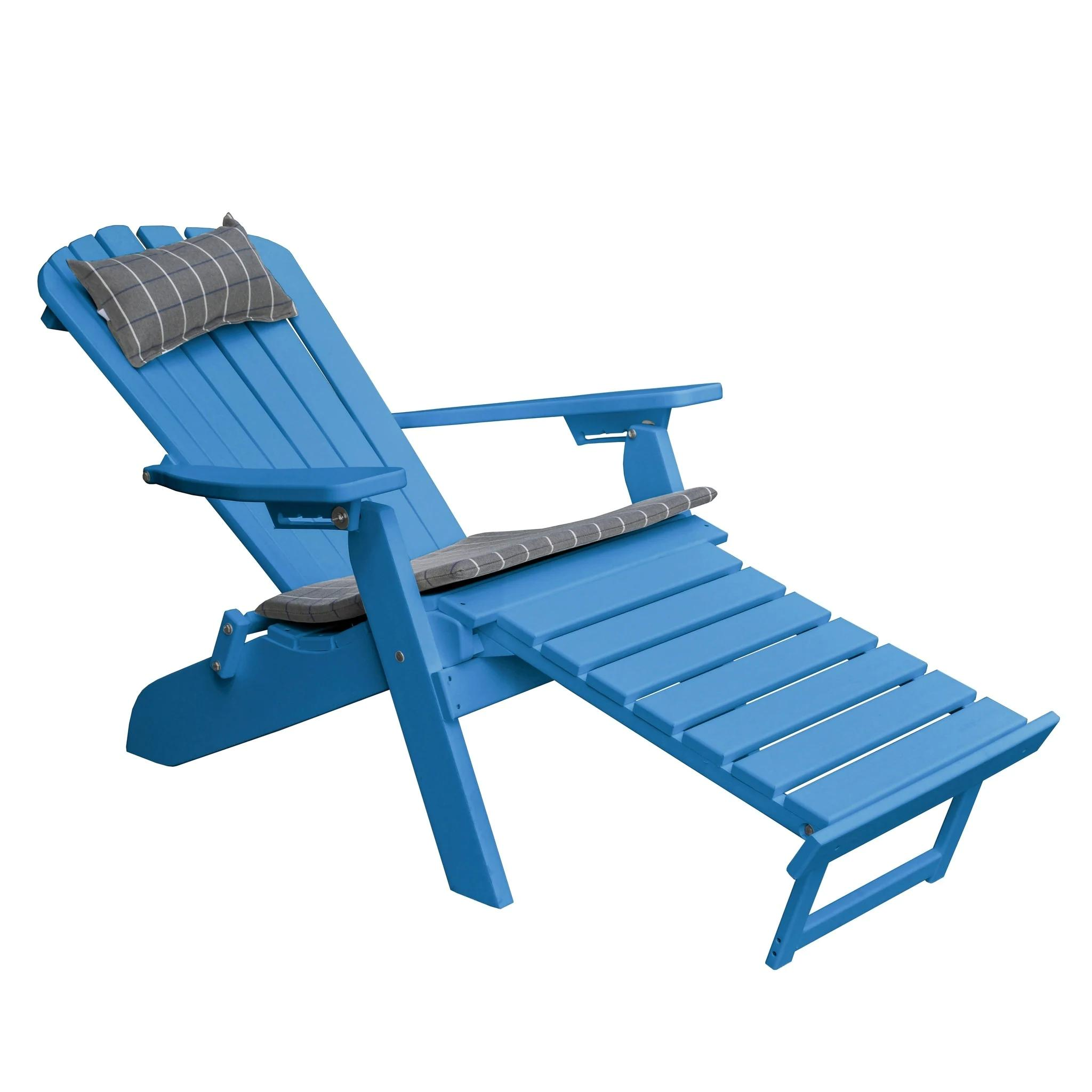 Folding/Reclining Adirondack Chair with Pullout Ottoman - Recycled Plastic