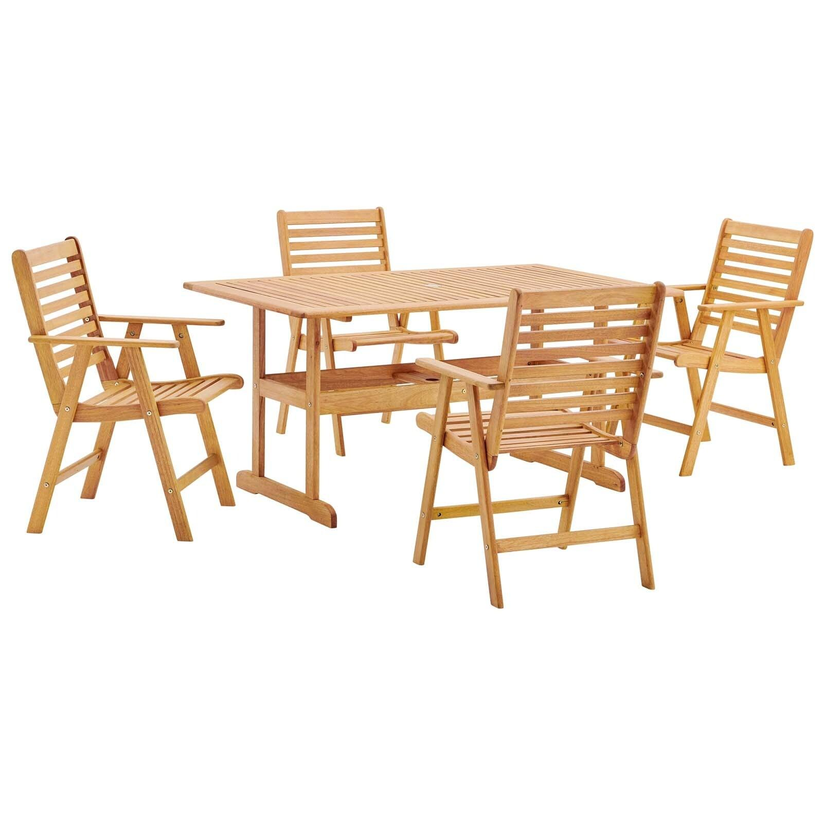 Hatteras Outdoor Patio Eucalyptus Wood Dining Set with 59