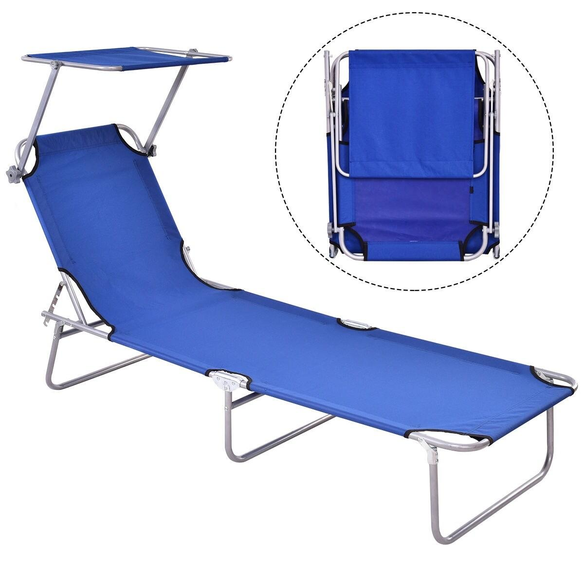 Foldable Relaxing Lounge Beach Chair-Blue - Red